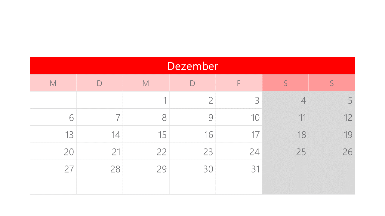 PowerPoint Vorlage: Kalender der einzelnen Monate