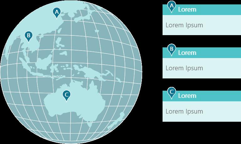 PowerPoint Vorlage: Weltkarte - Standorte in Asien und Australien