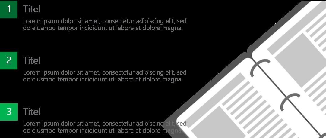 PowerPoint Vorlage: Agenda mit Notizbuch
