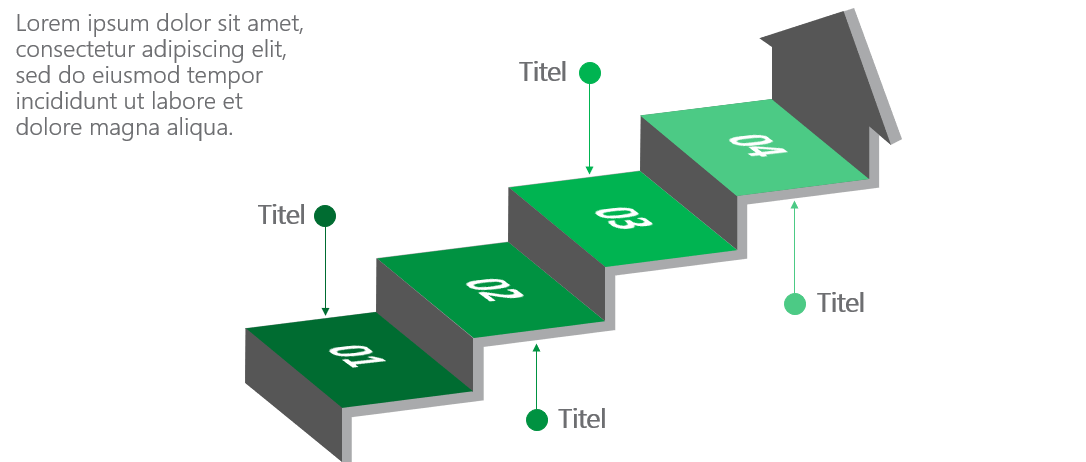 PowerPoint Vorlage: 3D-Treppe mit Pfeil