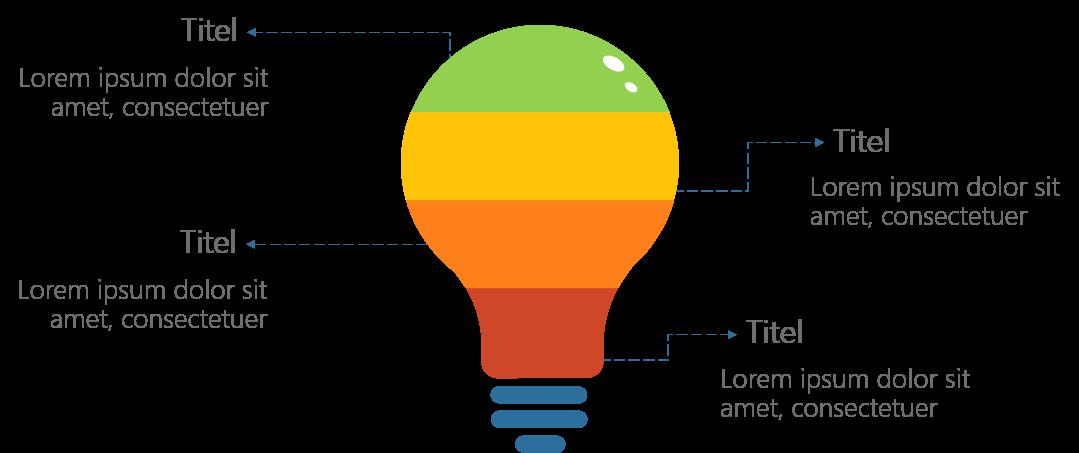 PowerPoint Vorlage: Aufzählung mit Glühbirne