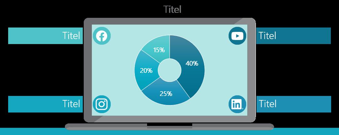 PowerPoint Vorlage: Social Media Kanäle auf Laptop