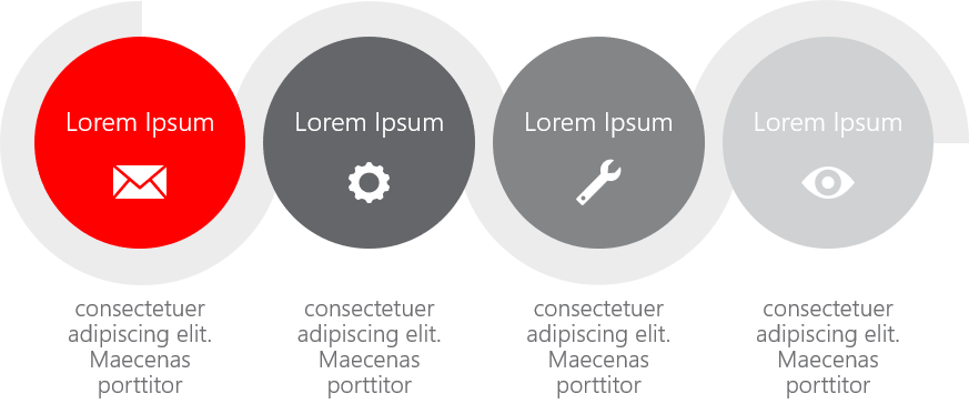 PowerPoint Vorlage: Verlauf mit Halbbogen und Kreisen