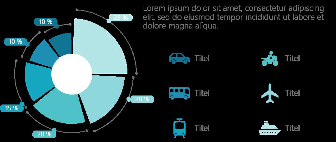PowerPoint Vorlage: Pie Chart mit Fahrzeugen