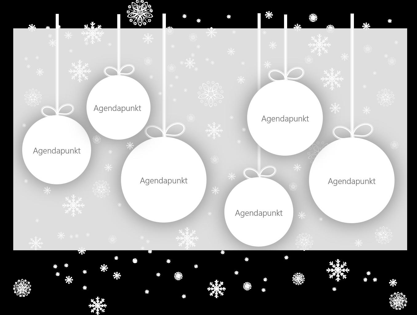 PowerPoint Vorlage: Weihnachtskugeln mit Agendapunkten