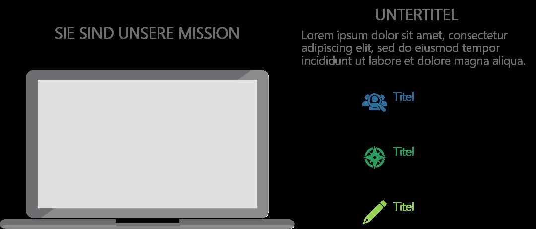 PowerPoint Vorlage: Unternehmensmission mit Laptop und Piktogrammen