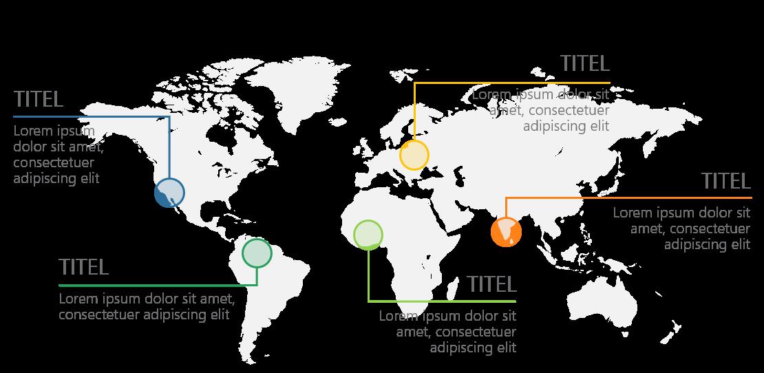 PowerPoint Vorlage: Weltkarte mit hervorhebenden Linien