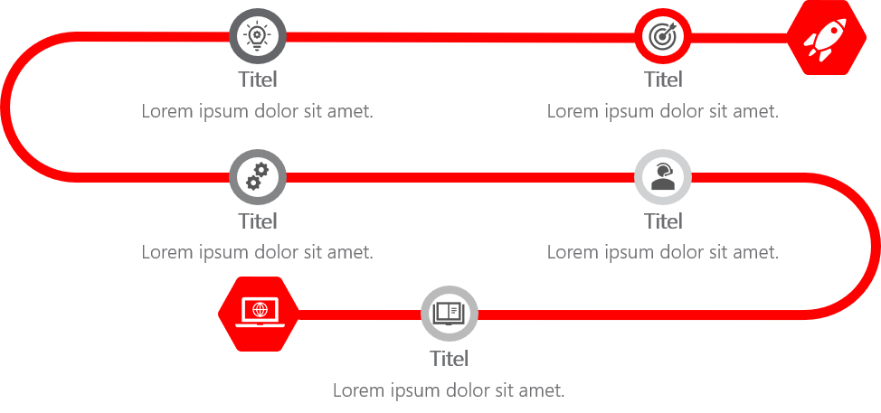 PowerPoint Vorlage: Vertikaler Prozess in Schlangenform