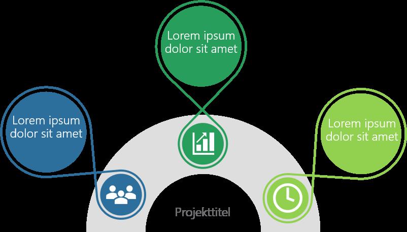 PowerPoint Vorlage: Prozess mit Kreisen auf einem Halbkreis