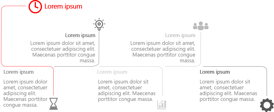PowerPoint Vorlage: Zeitstrahl – Meilensteine mit Piktogrammen