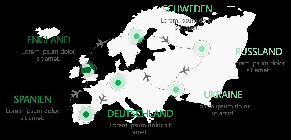 PowerPoint Vorlage: Landkarte mit Flugverkehr