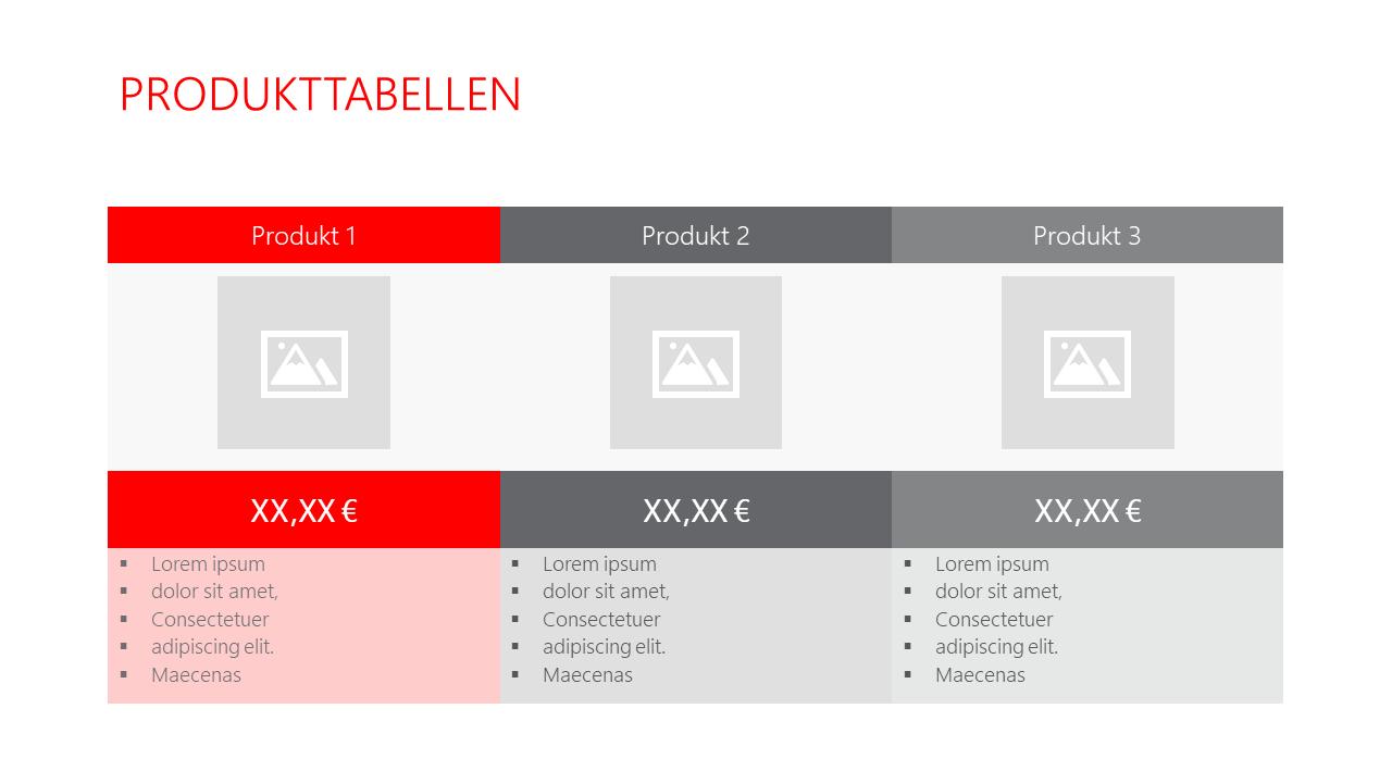 PowerPoint Vorlage: Produkttabellen