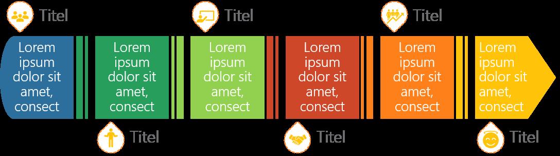 PowerPoint Vorlage: Workflow mit geteiltem Pfeil