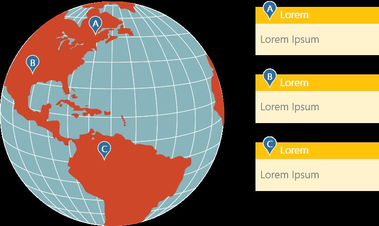 PowerPoint Vorlage: Weltkarte - Standorte in Nord- und Südamerika