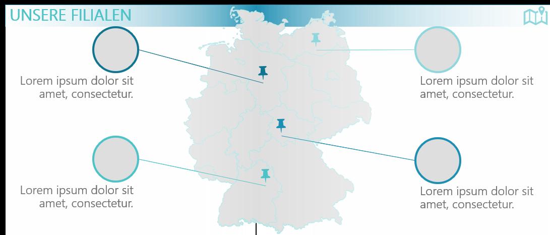 PowerPoint Vorlage: Nationale Filialen mit hervorgehobenen Standorten