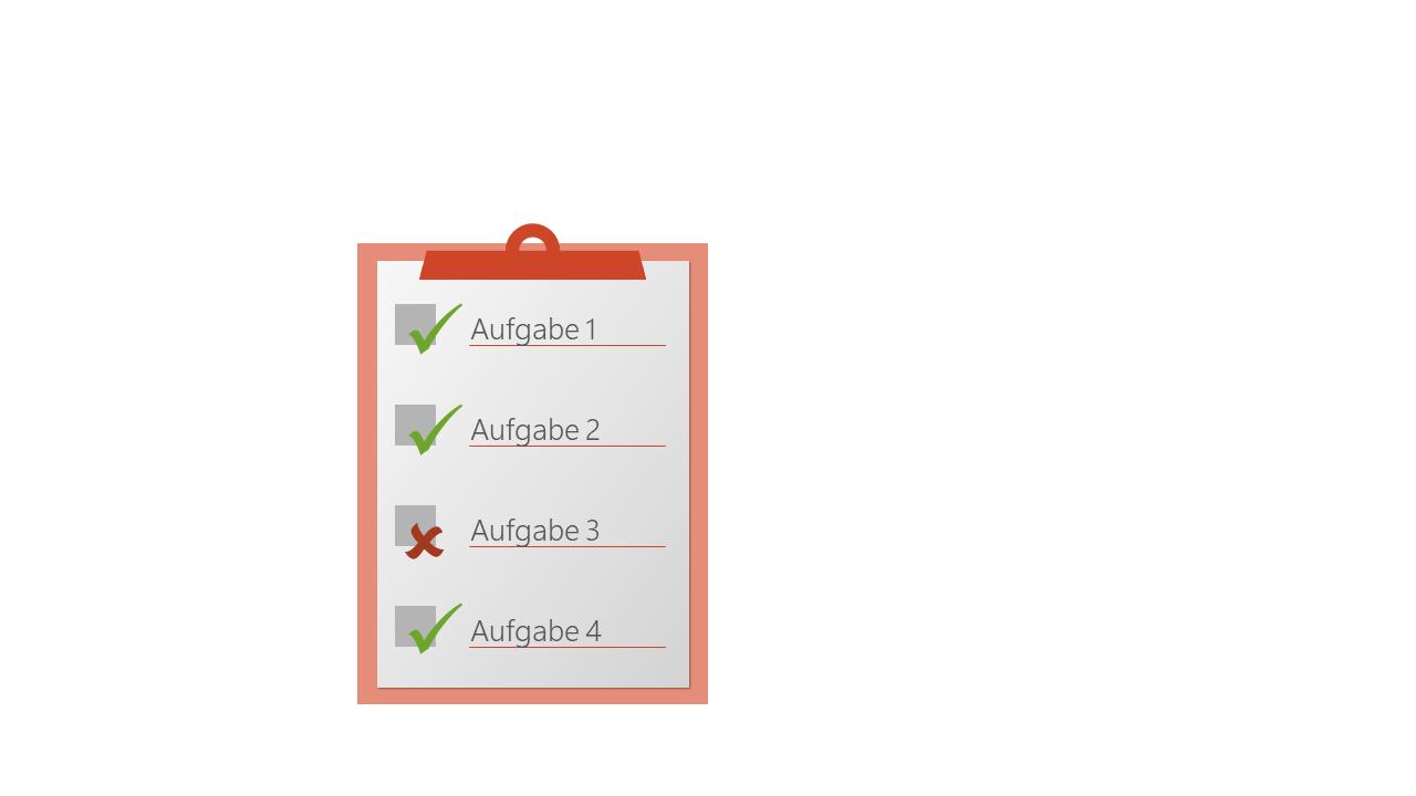 PowerPoint Vorlage: Checkliste mit Klemmbrett