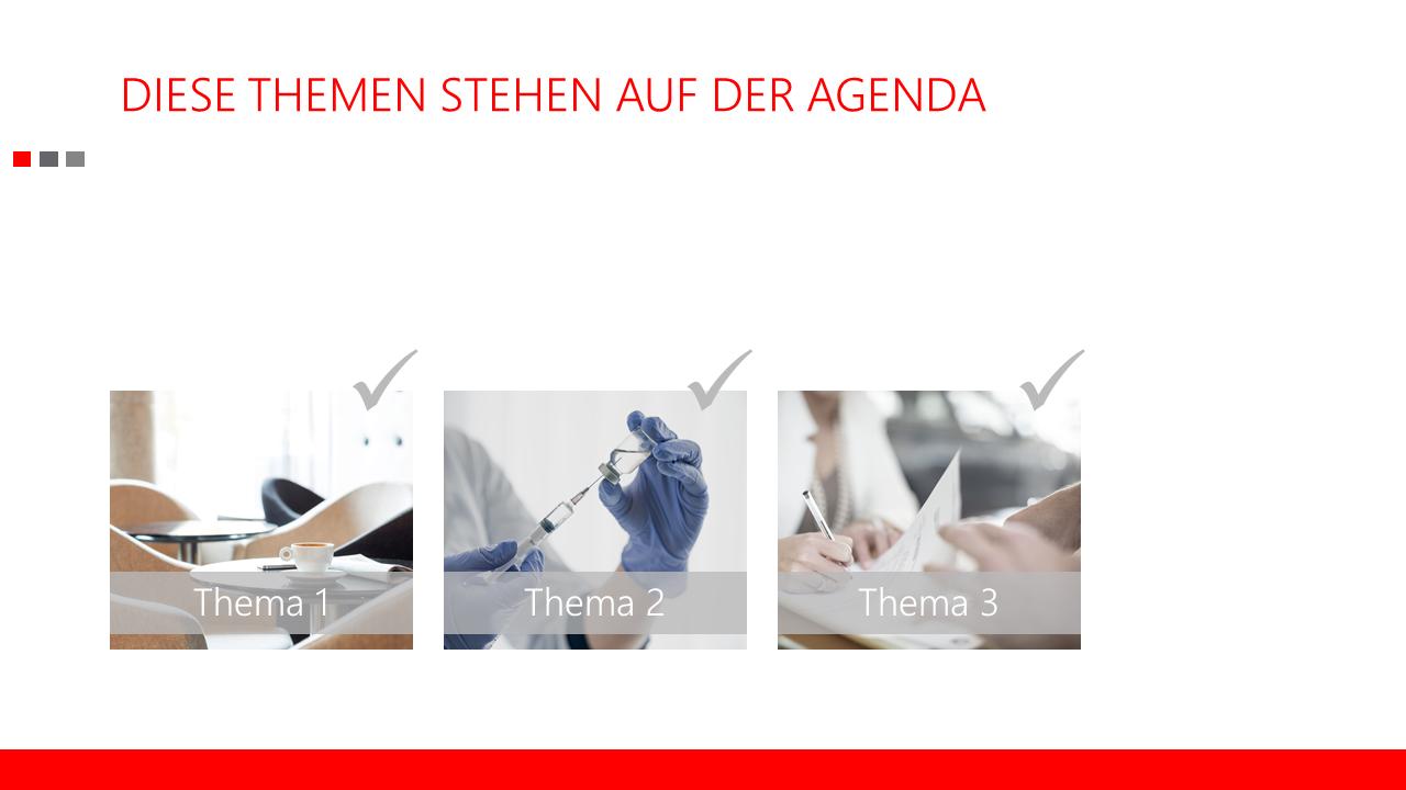 PowerPoint Vorlage: Übersichtsfolie mit Trigger-Animationen zum Abhaken von drei und vier Themen